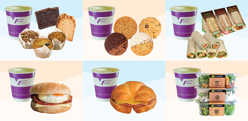 V/Line meal options with a hot drink