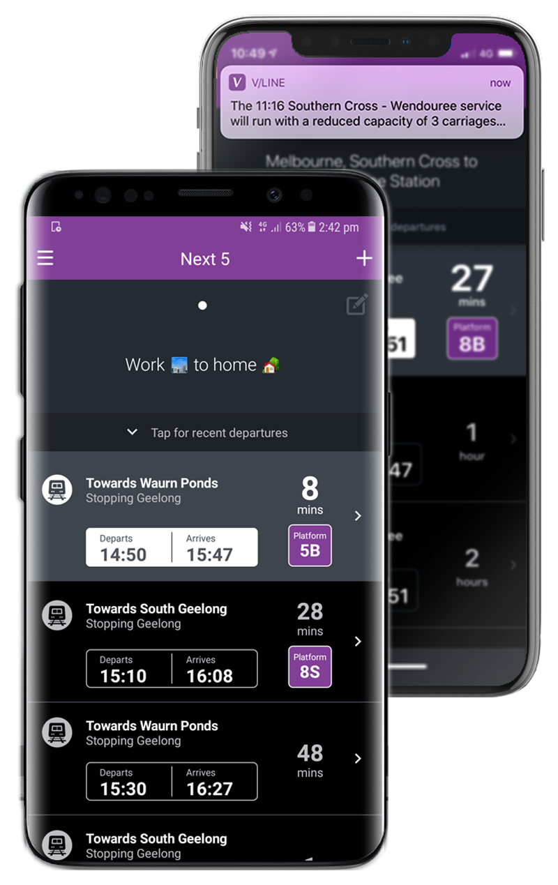 V/Line mobile application shown on a Samsung and Apple phone